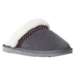 Muk Luks Womens Grey Suede Clog Slippers