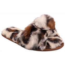Womens Leopard Knot Slip-On Slippers