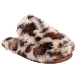 Womens Leopard Fuzzy Clog Slippers