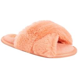 Womens Faux Fur X Slide Slippers