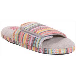Womens Striped Velcro Open-Toe Scuff Slippers
