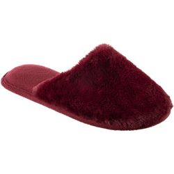 Isotoner Womens Laurel Solid Faux Fur Clog Slippers