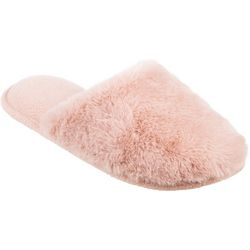 Isotoner Womens Laurel Faux Fur Clog Slippers