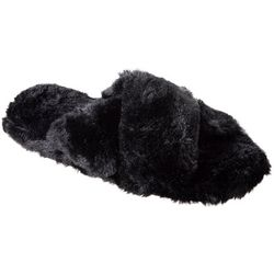 Isotoner Womens Fey Faux Fur Slide Slippers