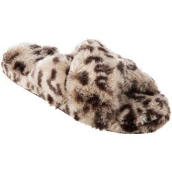 Isotoner Womens Fey Leopard Faux Fur Slide Slippers