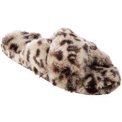 Womens Fey Leopard Faux Fur Slide Slippers