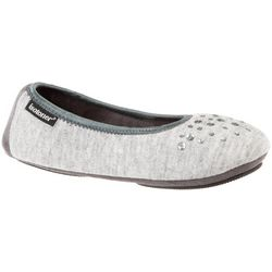 Isotoner Womens Knit Embellished Ballerina Slippers