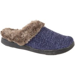 Isotoner Womens Knit Hood Back Faux Fur Slippers