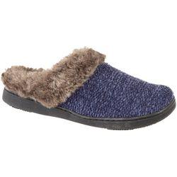 Womens Knit Hood Back Faux Fur Slippers