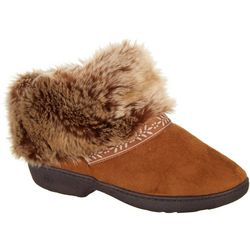 Isotoner Womens Addie Fur Cuff Bootie Slippers