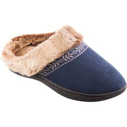 Isotoner Womens Addie Solid Faux Fur Clog Slippers