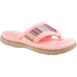 Isotoner Womens Striped Microfiber Terry Thong Slippers
