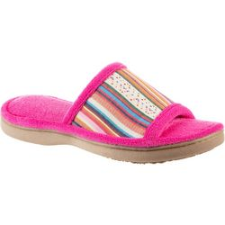 Isotoner Womens Striped Microfiber Terry Slippers