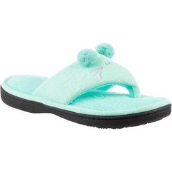 Isotoner Womens Jersey Cat Thong Slippers