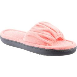 Isotoner Womens Solid Ruched Slide Slippers