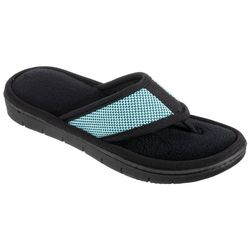 Isotoner Womens Mesh Microfiber Terry Thong Slippers