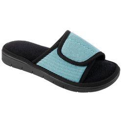 Isotoner Womens Sports Mesh Adjustible Slide Slippers