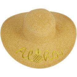 Riviera Womens Aloha Embroidered Straw Hat
