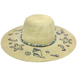 Awayalife Womens Shell Embellished Straw Hat