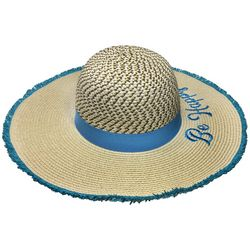 Awayalife Womens Embroidered Be Happy Straw Hat