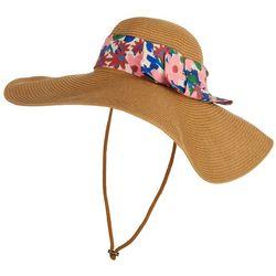 Steve Madden Womens Floral Straw Floppy Hat