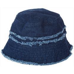 Womens Frayed Accent Denim Bucket Hat