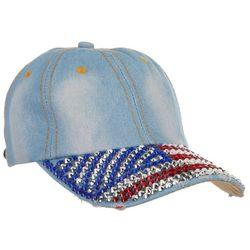 Americana Womens Studded Brim Denim Flag Adjustable Cap