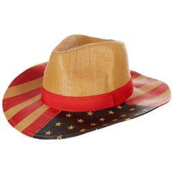 Womens American Flag Straw Cowboy Hat