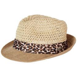 Womens Cheetah Crochet Straw Fedora