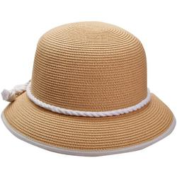 Womens Rope Banded Straw Bucket Hat