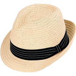 Womens Paper Braid Strap Fedora Sun Hat