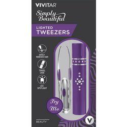 Vivitar Purple Simply Beautiful Lighted Tweezers