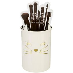 Tri-Coastal Cat Face Ceramic Brush Holder