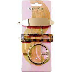 Posh + Pop 3-pc. Multi-Shape Hair Clip Set