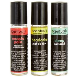 Scentuals 3-pk. For The Body Roll-On Essential Oil Set