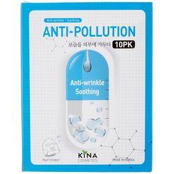 Kina Cosmetics 10-pk. Anti-Pollution Soothing Face Masks