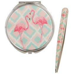 Beauty Myxx Pink Flamingo Mirror & Tweezer Set