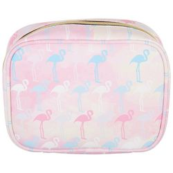 Under 1 Sky Fab Flamingo Square Cosmetic Bag