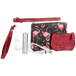 Under 1 Sky 3-pc. Flamingo Heart Charger Zipper Pouch Set