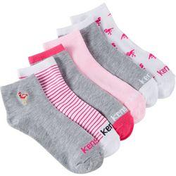 Kensie Womens 6-pk. Flamingo Quarter Crew Socks