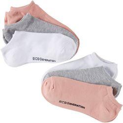 BCBG Womens 6-pk. Basic Nuetral Color Logo No Show Socks