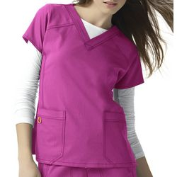 WonderWink Womens 4-Stretch Sporty Solid Scrub Top