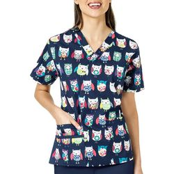 WonderWink Womens V-Neck Owl Scrub Top