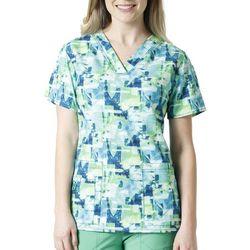 Carhartt Womens Cross Flex Green Abstract Scrub Top