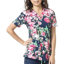 Carhartt Womens Cross Flex Abstract Floral Scrub Top