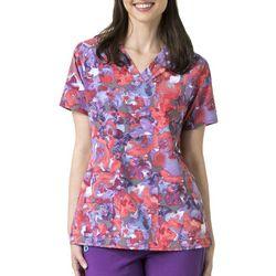 Carhartt Womens Cross Flex Watercolor Floral Scrub Top