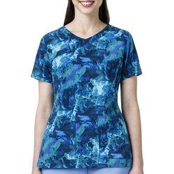 Carhartt Womens Y-Neck Watercolor Scrub Top