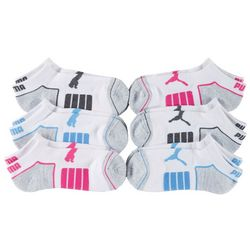 Puma Womens 6-pk. Cushioned Colorblock Low Cut Socks