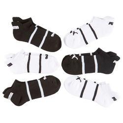 Puma Womens 6-pk. Stripe Logo Cushioned Low Cut Socks