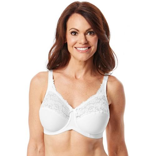 Lilyette by Bali Tailored Minimizer Bra with Lace Trim